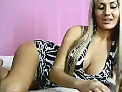 Majestic golden-haired sweetheart with good big tits on paid web camera