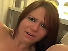 Fisting my hot wife on the sofa making her moan loud