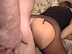 Penetrating my honey from behind through the hole in her pantyhose