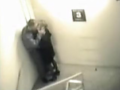 Stairway sex caught on tape