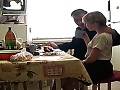 Russian mature couple has breakfast sex