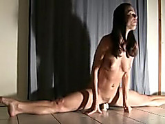 Super fit gymnast enjoys her vibrator alone