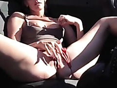 redhead masturbates in car hot sexy sexy