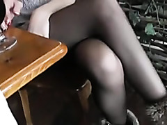 Public Footjob In Cafe