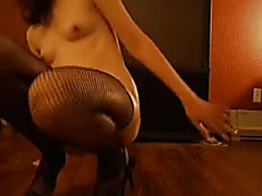 Constricted snatch cums hard on fake penis