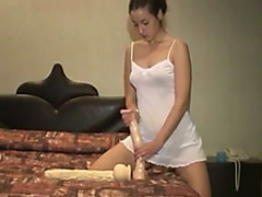 dilettante masturbating with a lengthy sextoy