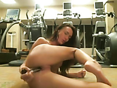 Diminutive brunette hair public gym masturbation