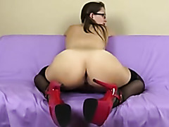 Stockings Heels Pigtalls Glasses