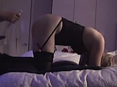 Garters and nylons wifey from behind