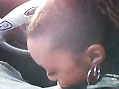 Car blowjob from ebony GF