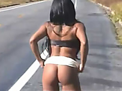 Sexy angel 1st time doing flashing on the road