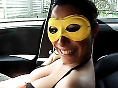Public sex with masked GF in my car