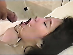 Girl gets her face covered with jizz
